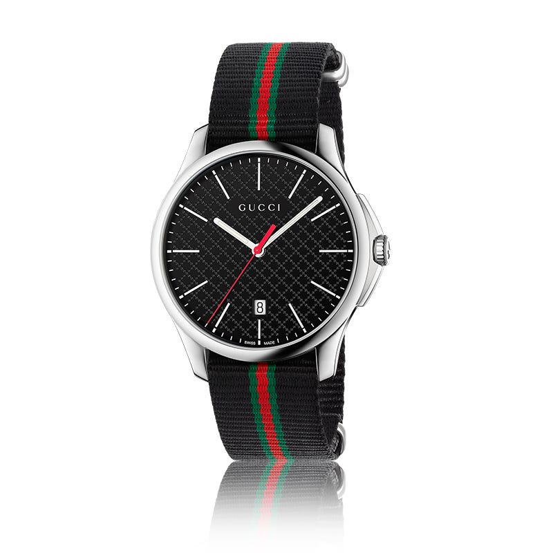 GUCCI G-Timeless Large Stainless Steel & Nylon Web Watch