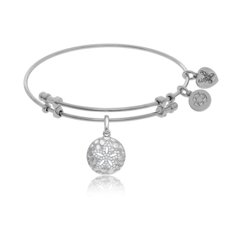 Sand Dollar Crystal Charm Bangle Bracelet in White Brass
