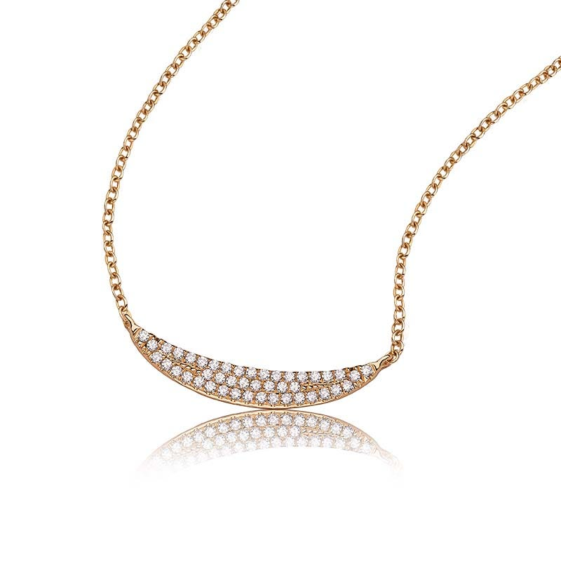 Shy Creation Diamond 0.11ctw. Curved Pave Pendant in 14k Yellow Gold SC55001917