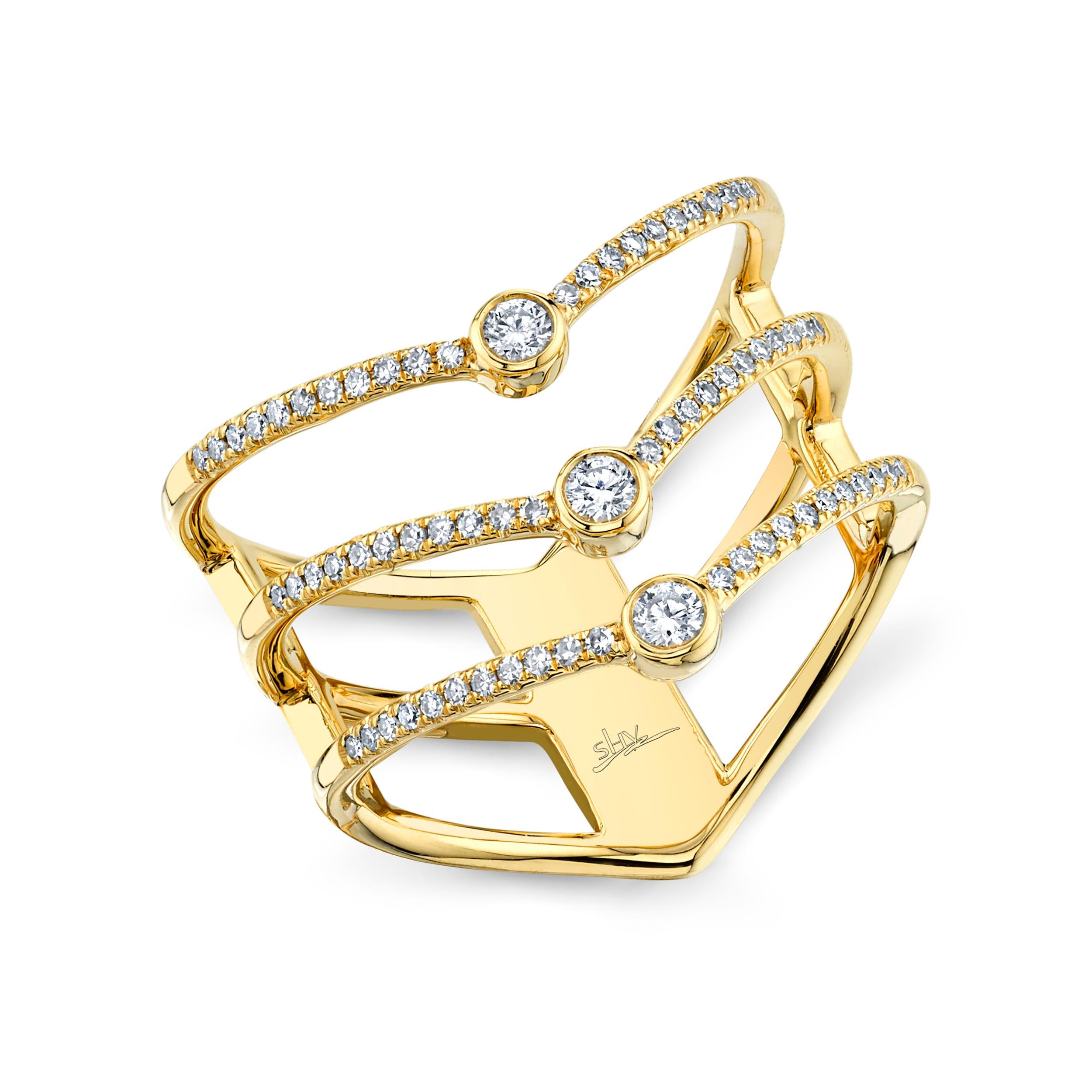 Shy Creation  3 Row Diamond Fashion Ring 14k Yellow Gold SC55001617
