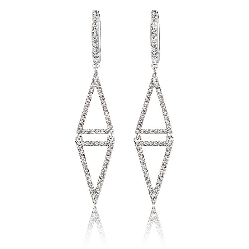 Shy Creation: Diamond 1/2ct. Drop Triangle Earrings in 14k White Gold