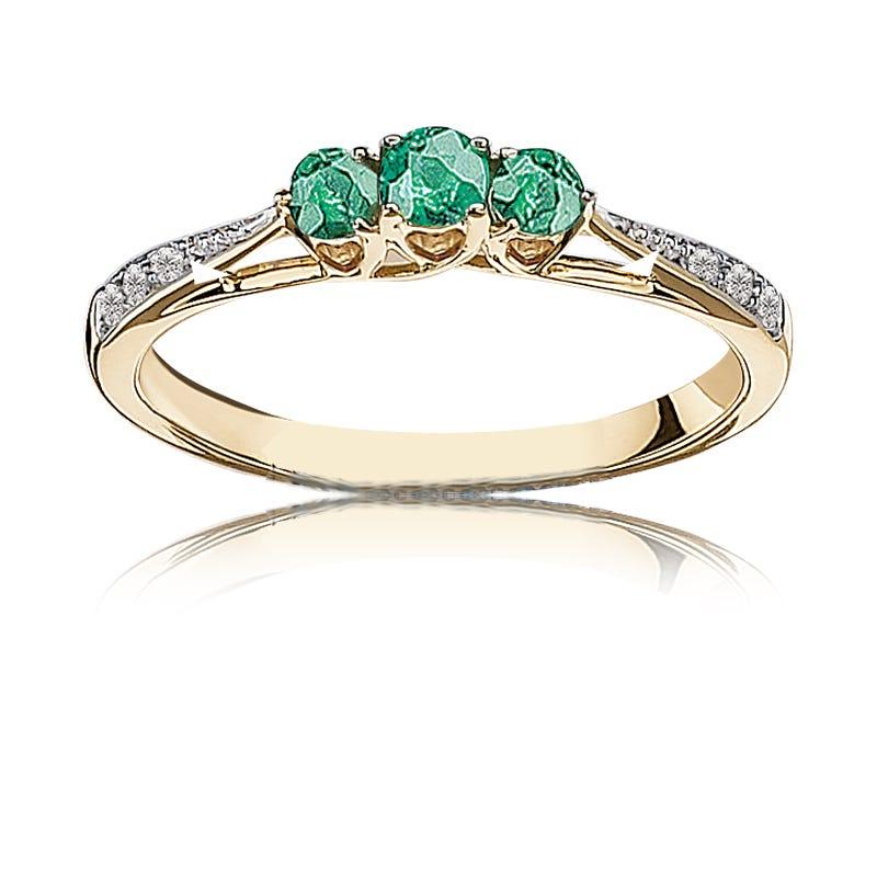 Emerald & Diamond Three-Stone Ring in 10k Yellow Gold