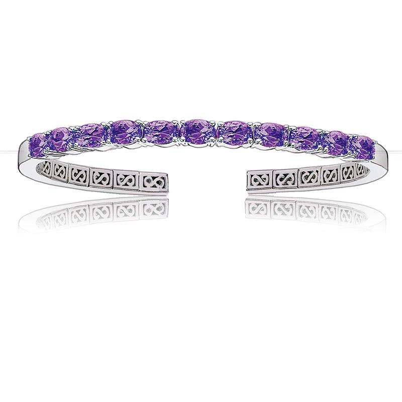 Amethyst Oval Gemstone Cuff Bracelet