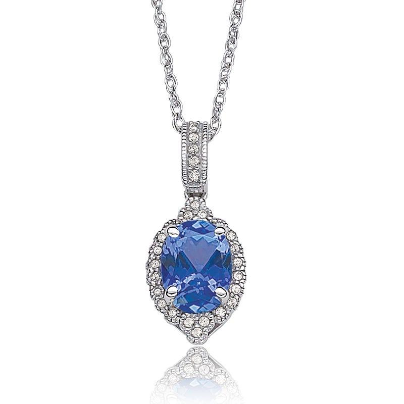 Tanzanite Oval Diamond Halo Pendant in 10k White Gold