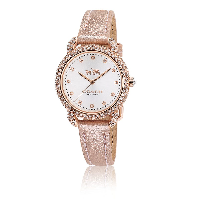 Coach Delancey Rose Gold Breast Cancer Awareness Pink Crystal Watch