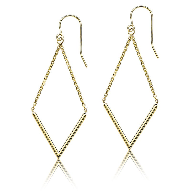 Open V-Shape Dangle Earrings in 14k Yellow Gold