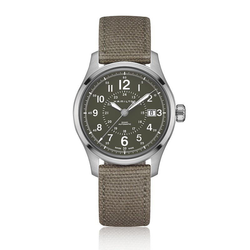Hamilton Khaki Field Automatic Green Dial Canvas Strap Watch H70595963