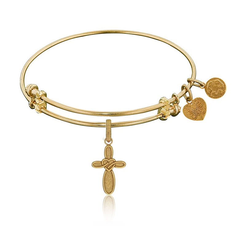 Heart & Cross Charm Bangle Bracelet Antiqued Yellow Brass
