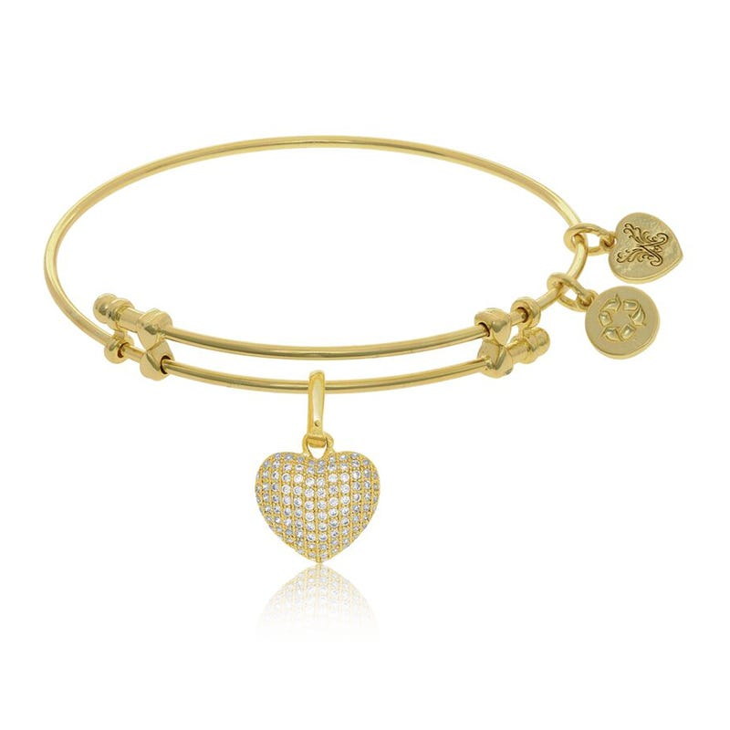 Heart Crystal Charm Bangle Bracelet in Yellow Brass