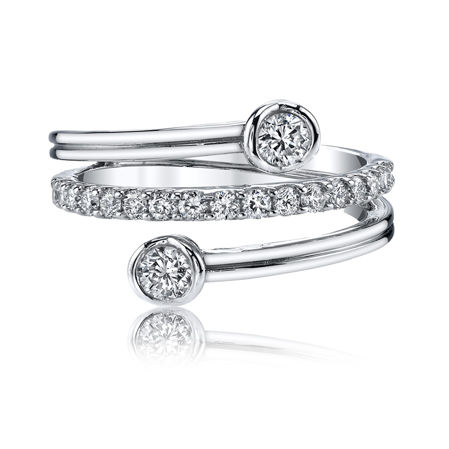 Sirena Diamond Fashion Layered Ring in 14k White Gold