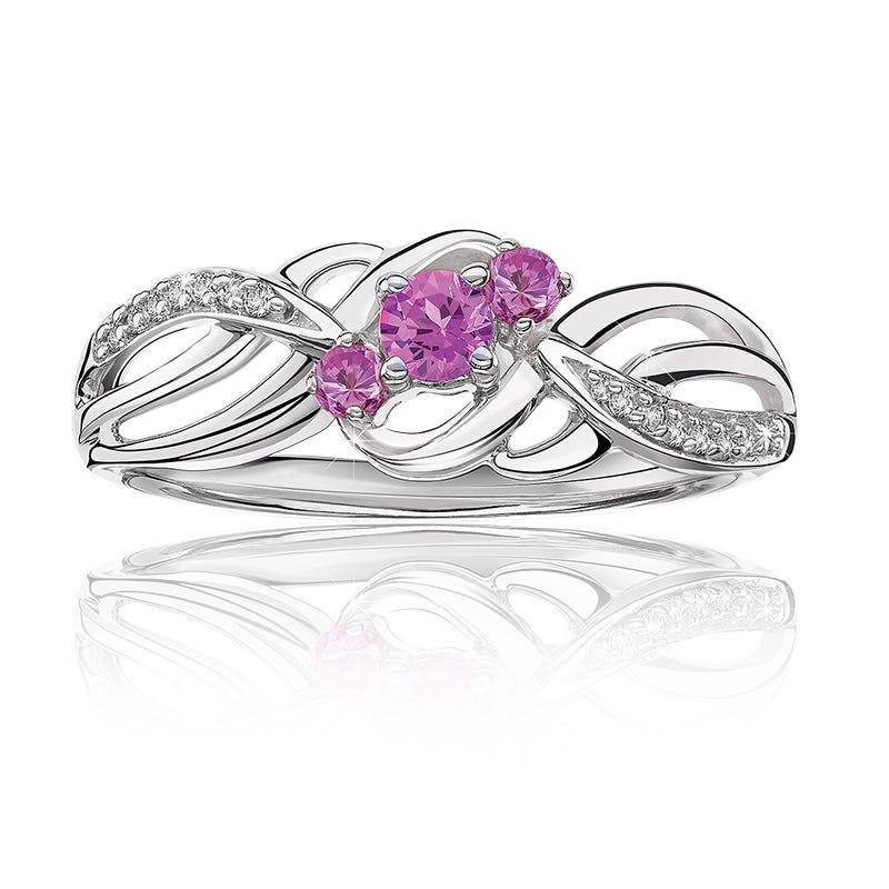 Three Stone Pink Sapphire & Diamond Ring in 10k White Gold