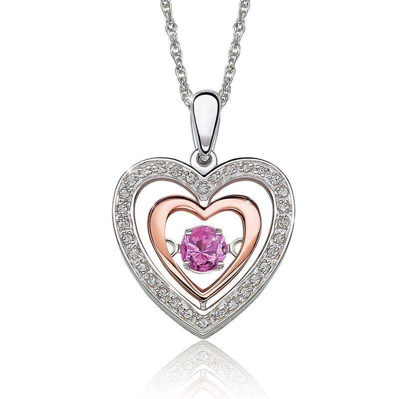 Beats of Love: Created Pink Sapphire & Diamond Heart Pendant