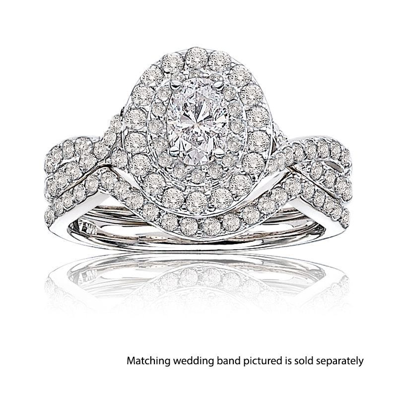Stella. Oval 1+ct. Diamond Double Halo Pavé Engagement Ring in 14k White Gold
