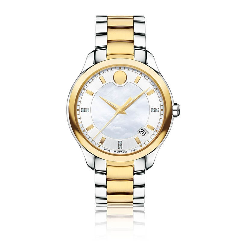 Movado Ladies Bellina™ White Dial & Diamond Markers Two-Toned Watch 606979