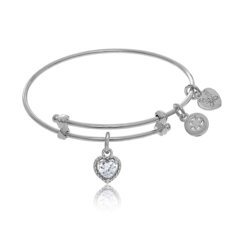 April Crystal Heart Charm Tween Bangle Bracelet in White Brass