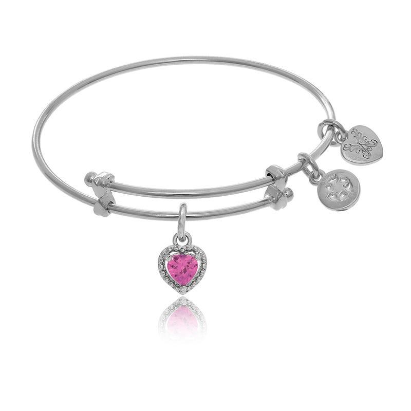 October Heart Crystal Charm Tween Bangle Bracelet in White Brass