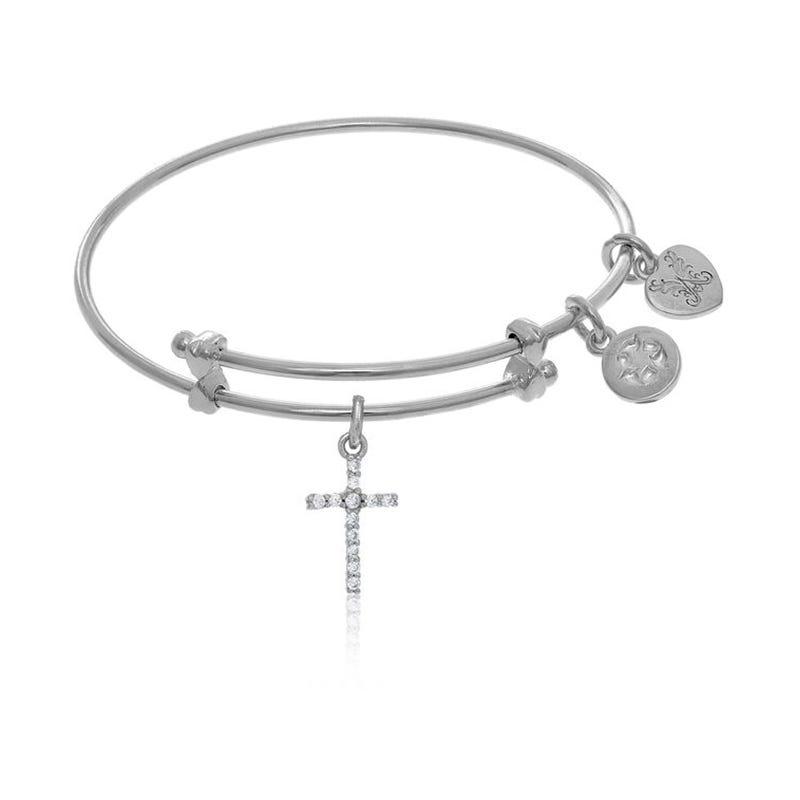 Crystal Cross Charm Tween Bangle Bracelet in White Brass