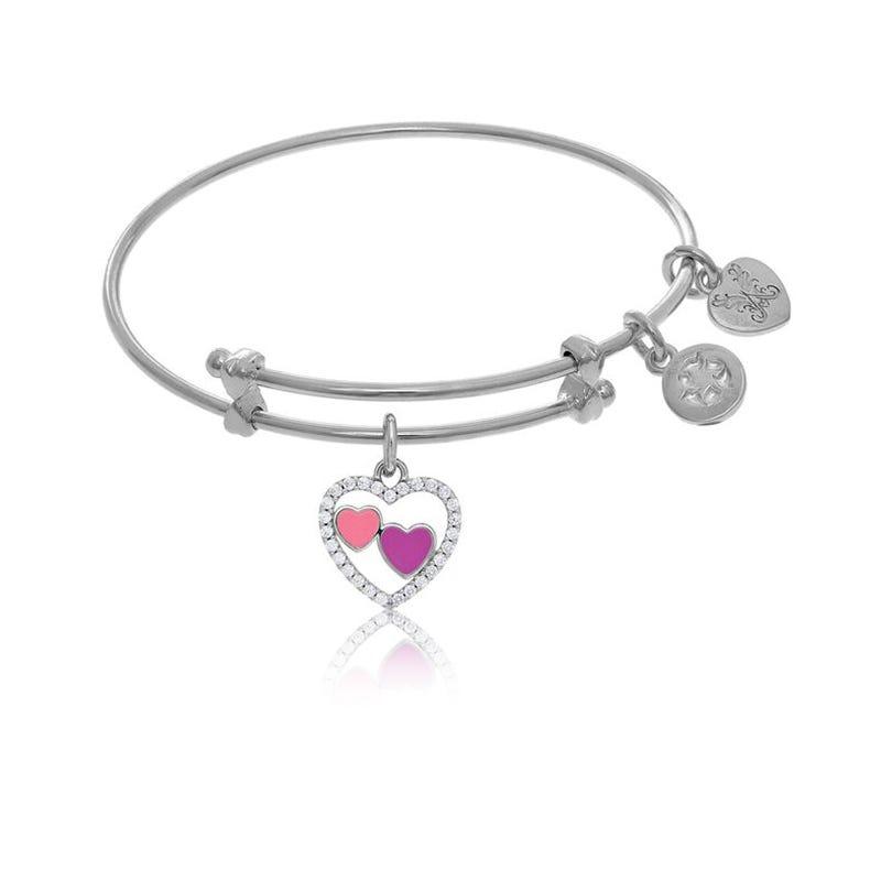 Multi-Heart Charm Tween Bangle Bracelet in White Brass