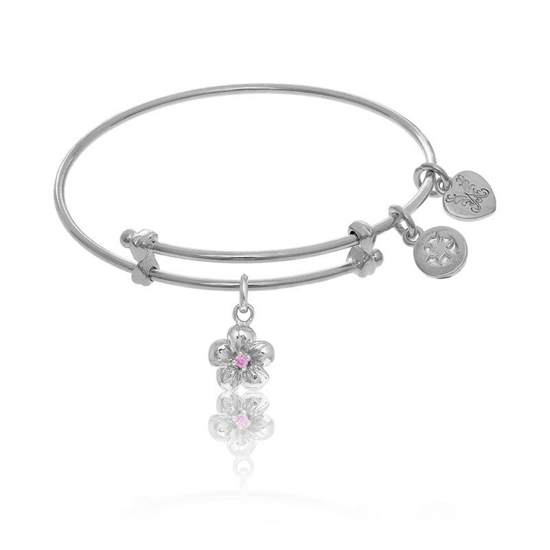 Flower Pink Crystal Charm Tween Bangle Bracelet in White Brass
