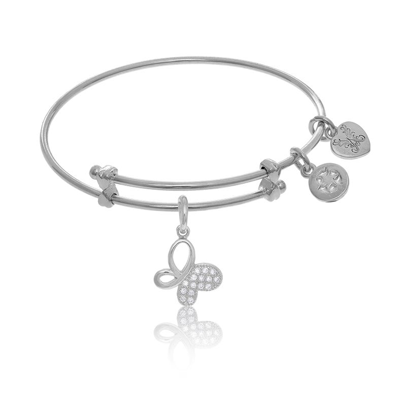 Butterfly Crystal Charm Tween Bangle Bracelet in White Brass
