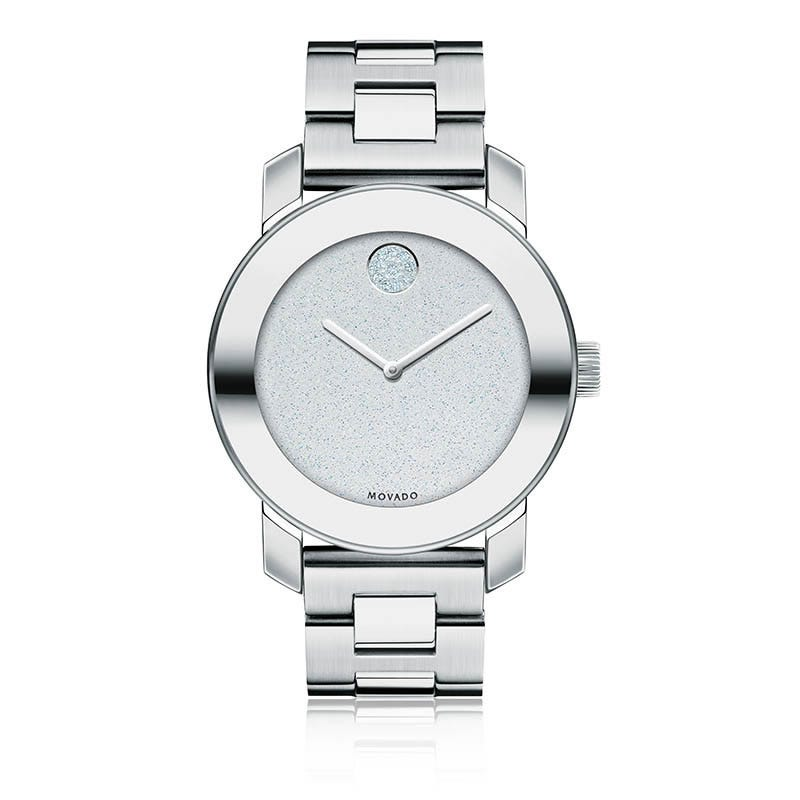 Movado BOLD Ladies Silver Glitter with SWAROVSKI Crystal Museum Dot 3600334