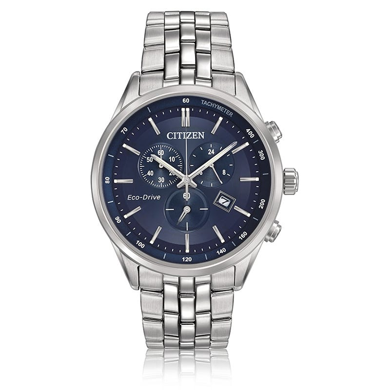 CITIZEN Sapphire Men's Eco-Drive Chronograph Blue Dial Bracelet Watch