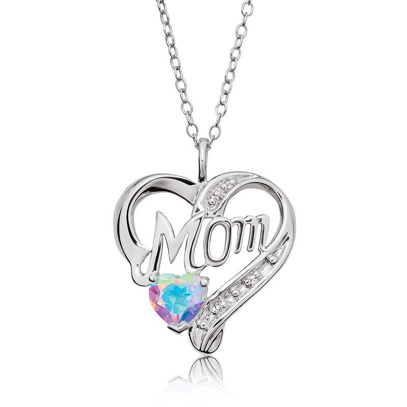 Mom Blue Magic Topaz & Diamond Heart Pendant