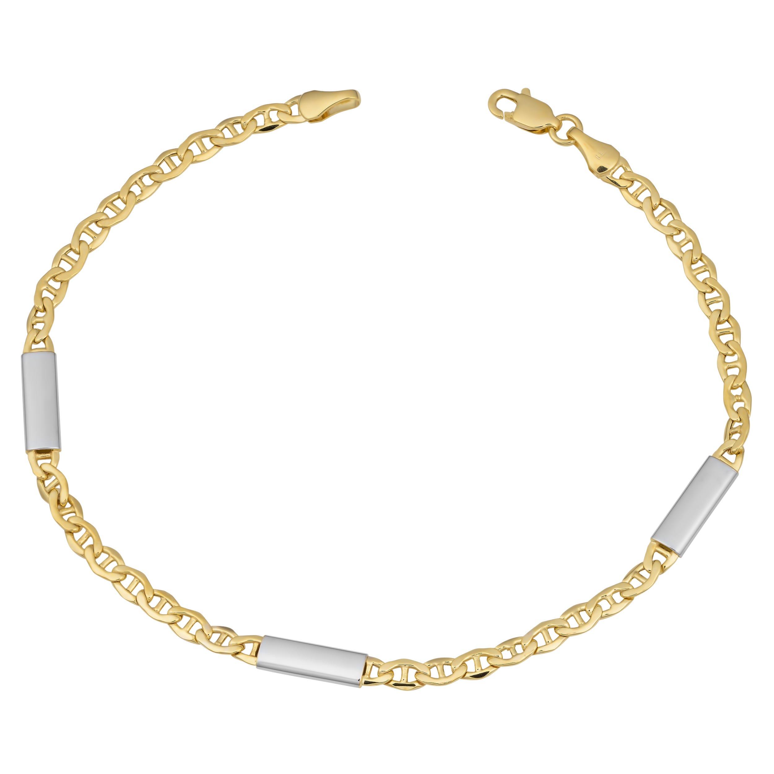 Gold Bar Station on Mariner Link Bracelet in 14k Gold 8