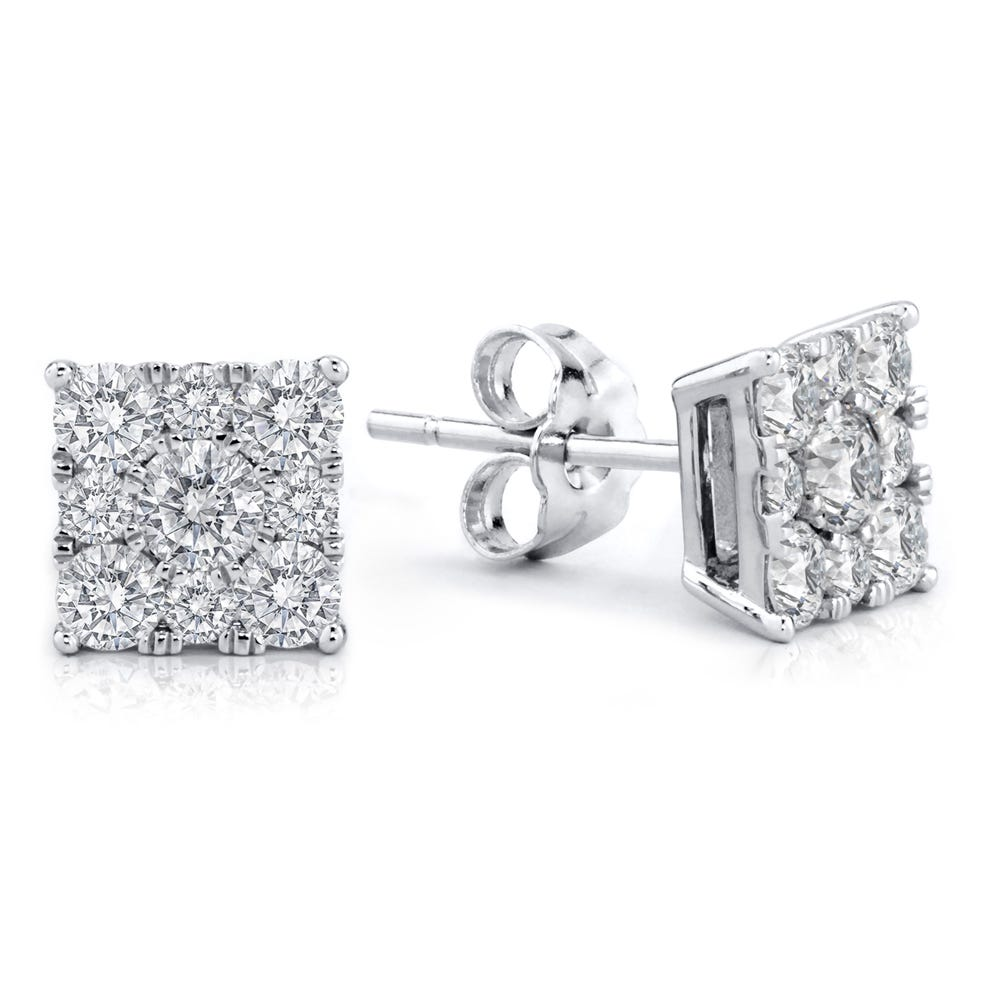 Diamond Square Stud 1.00ctw. Cluster Stud Earrings in 10k White Gold