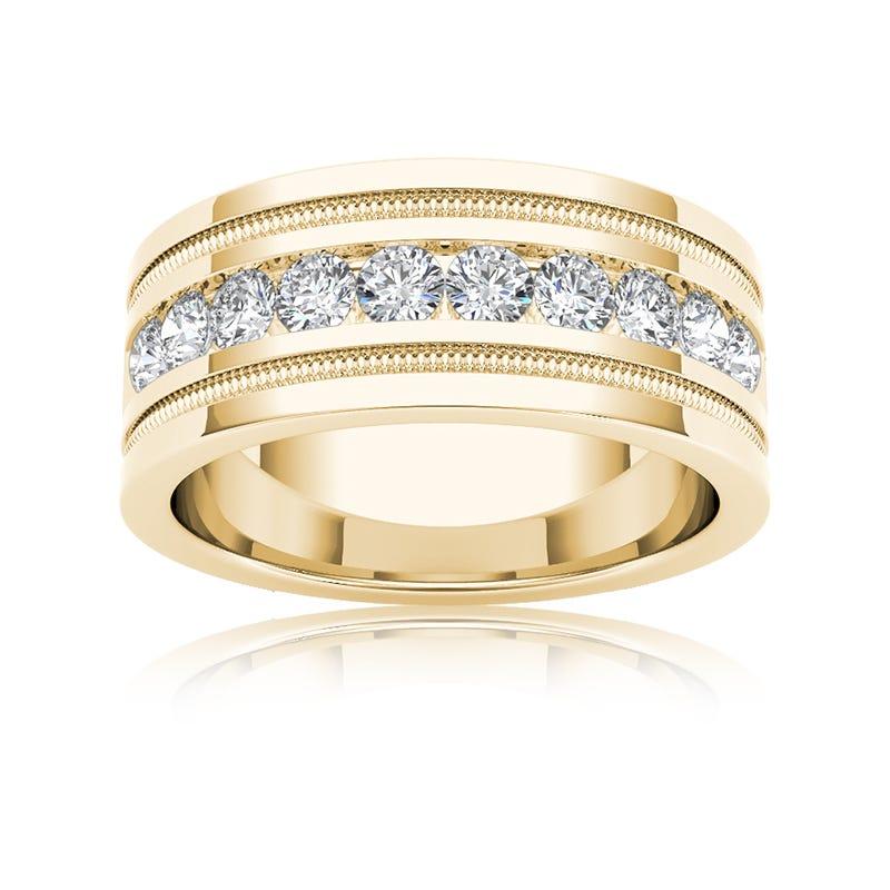 Men's Diamond 1+ Carat 10-Stone Wedding Band in 14k Yellow Gold