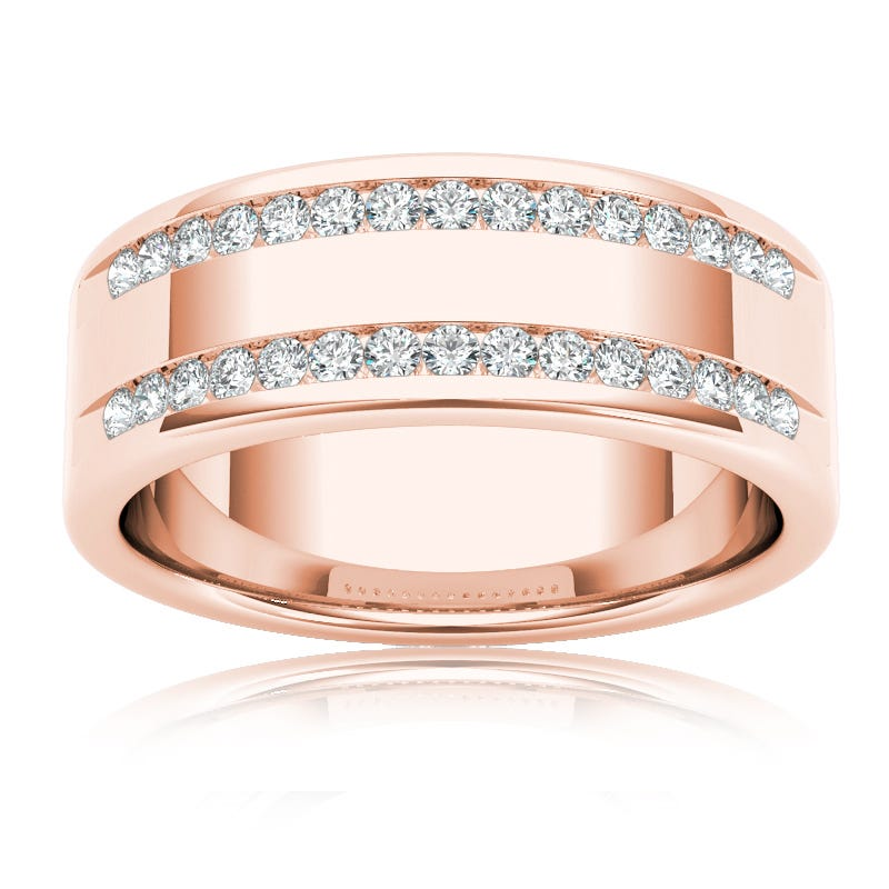 Men's Diamond 1/2 Carat Band in 14k Rose Gold