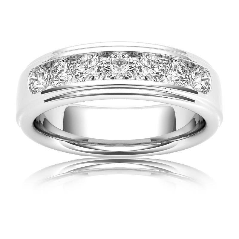 Men's Diamond 1 Carat 7-Stone Band in 14k White Gold