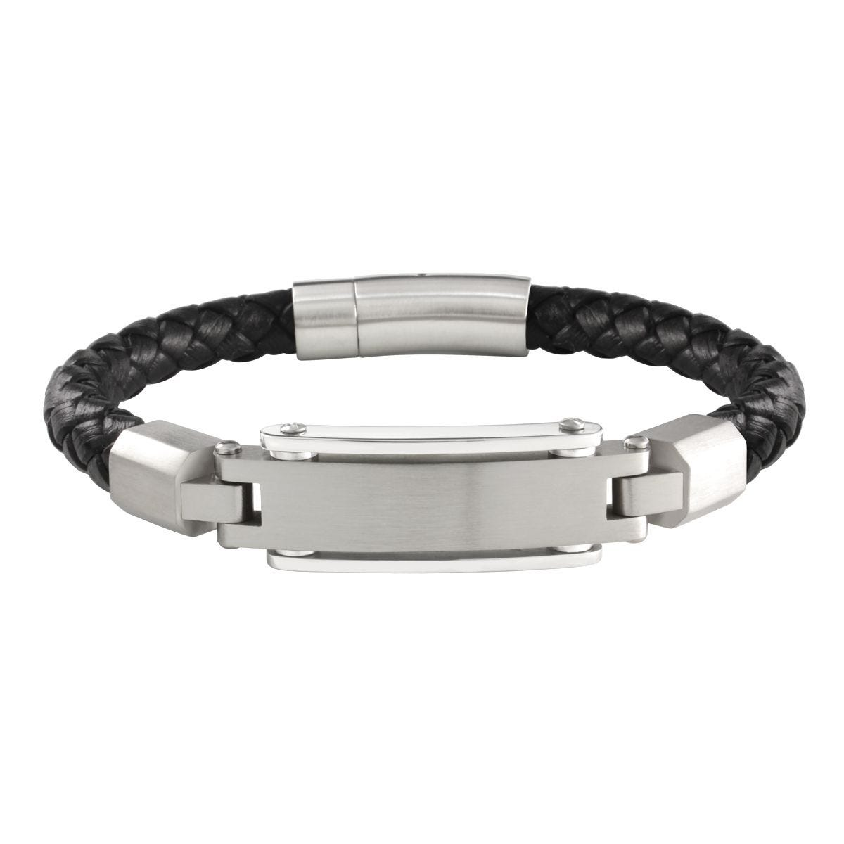10154a335046e Men's Satin Polish Engravable Silver-tone Black Braided Leather Bracelet