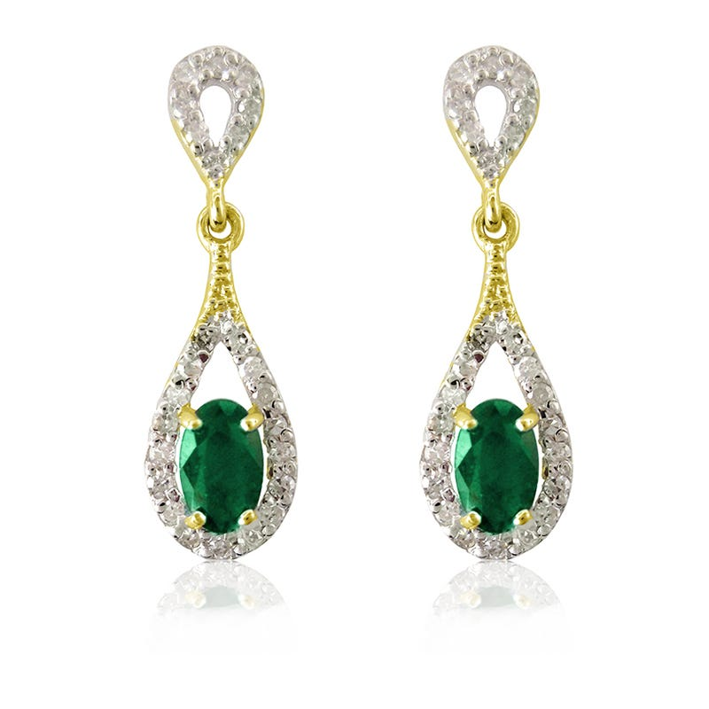 Emerald Oval & Diamond Dangle Earrings in 10k Yellow Gold