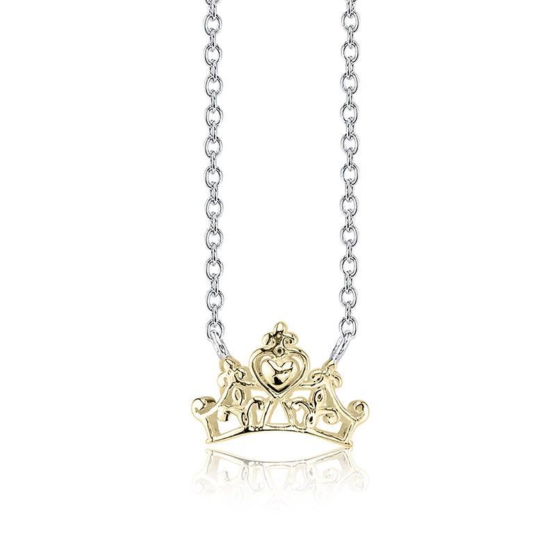 DISNEY© Princess Tiara Pendant in Sterling Silver & 10k Gold