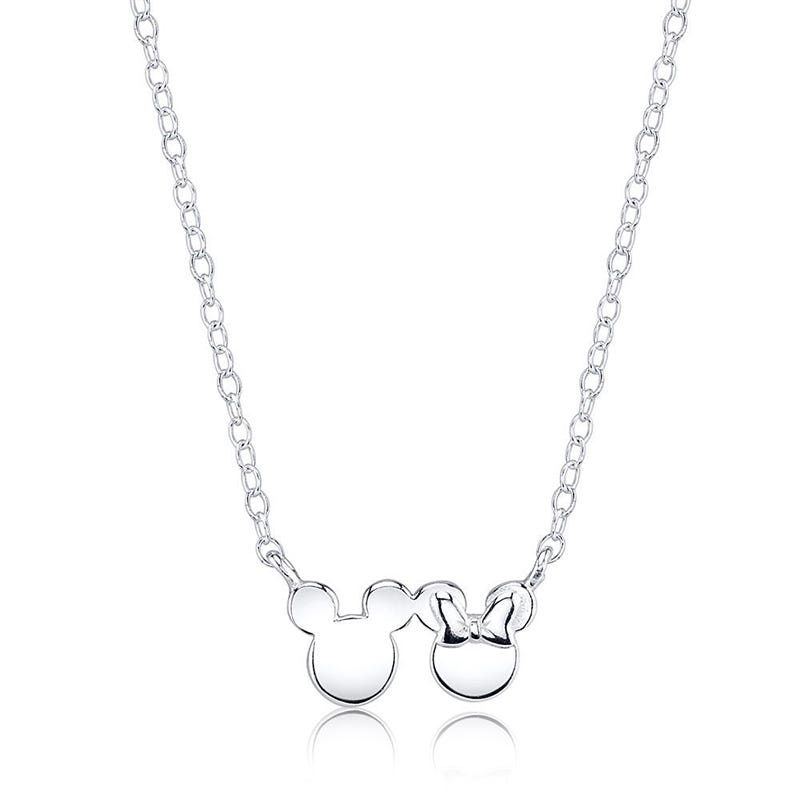 DISNEY© Mickey & Minnie Mouse Necklace in Sterling Silver