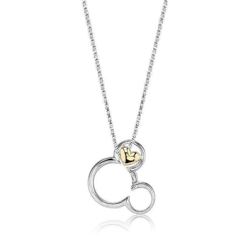 DISNEY© Mickey Mouse & Heart Pendant in Sterling Silver & 10k Gold