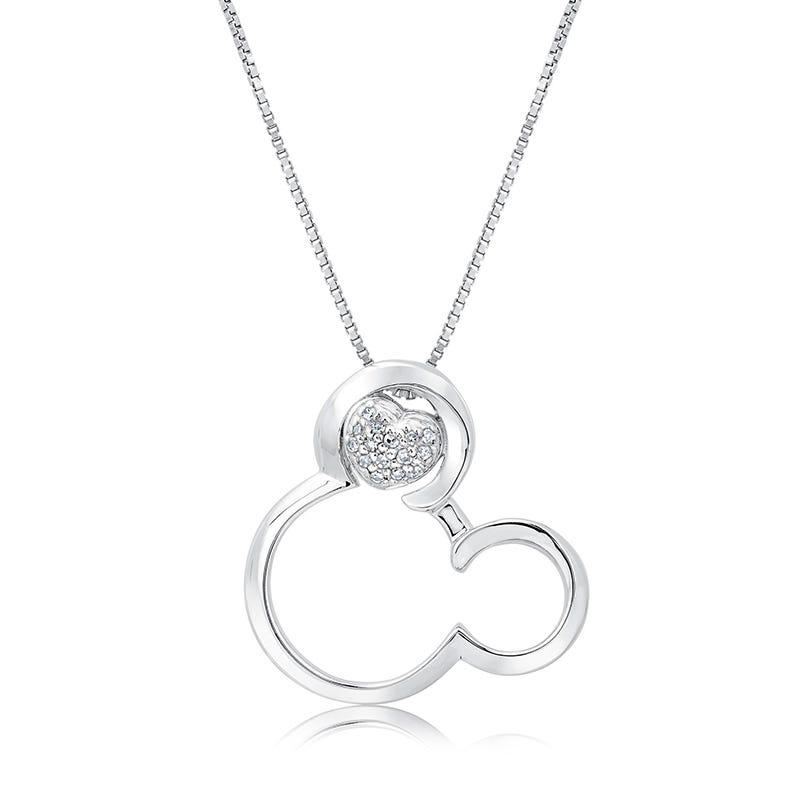 DISNEY© Mickey Mouse & Diamond Heart Pendant in Sterling Silver