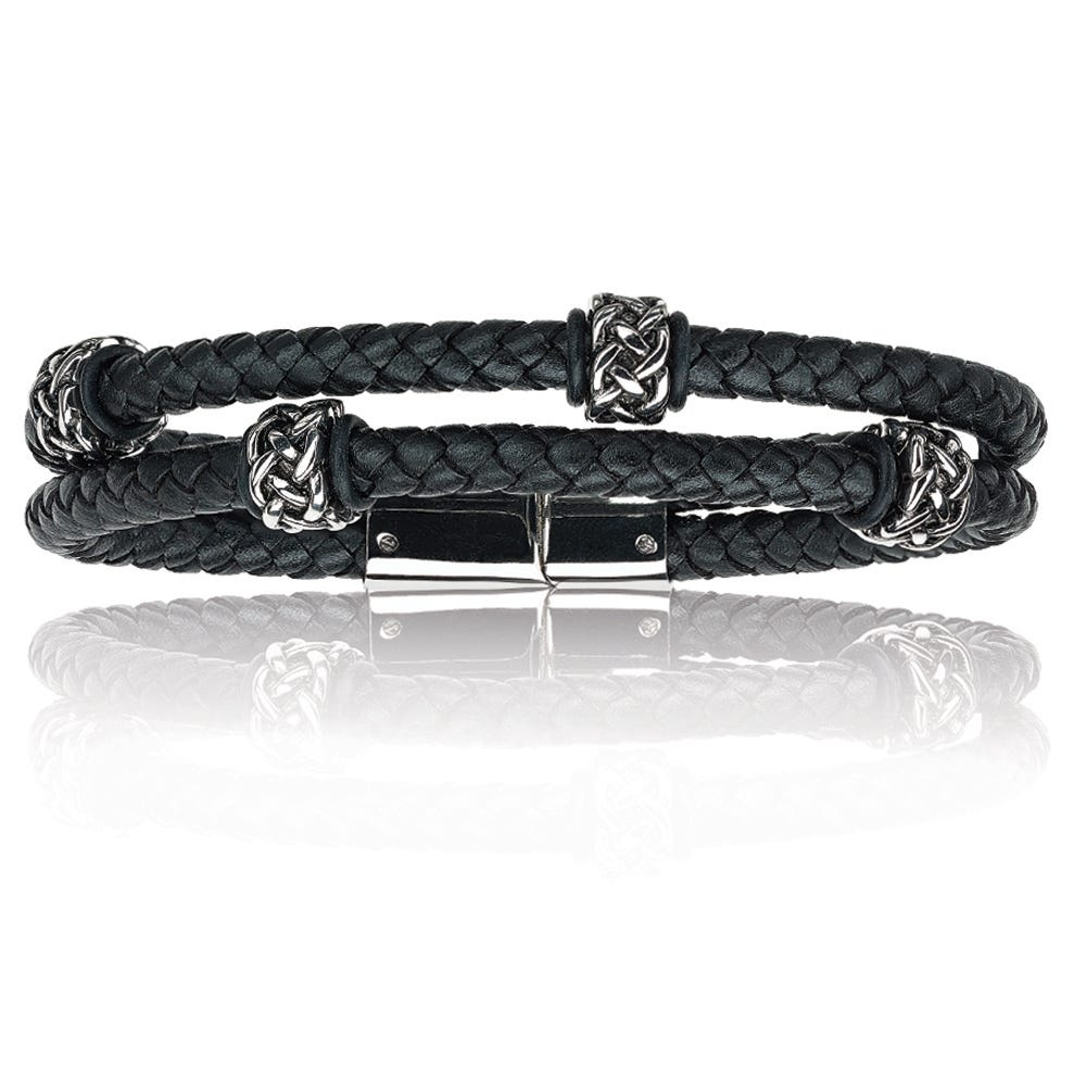 Double Band Black Leather & Stainless Steel Tribal Detail Bracelet