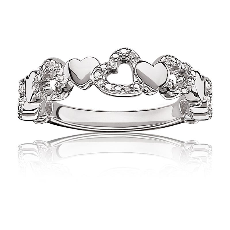 Diamond Heart Wrap Ring in Sterling Silver