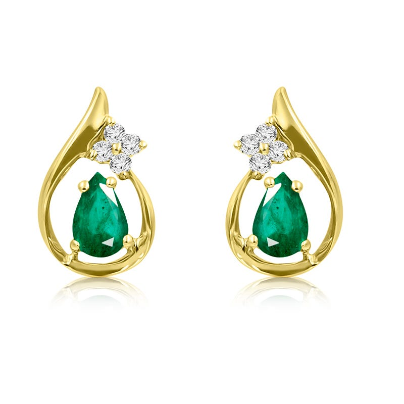Emerald & Diamond Pear Drop Earrings in 14k Yellow Gold