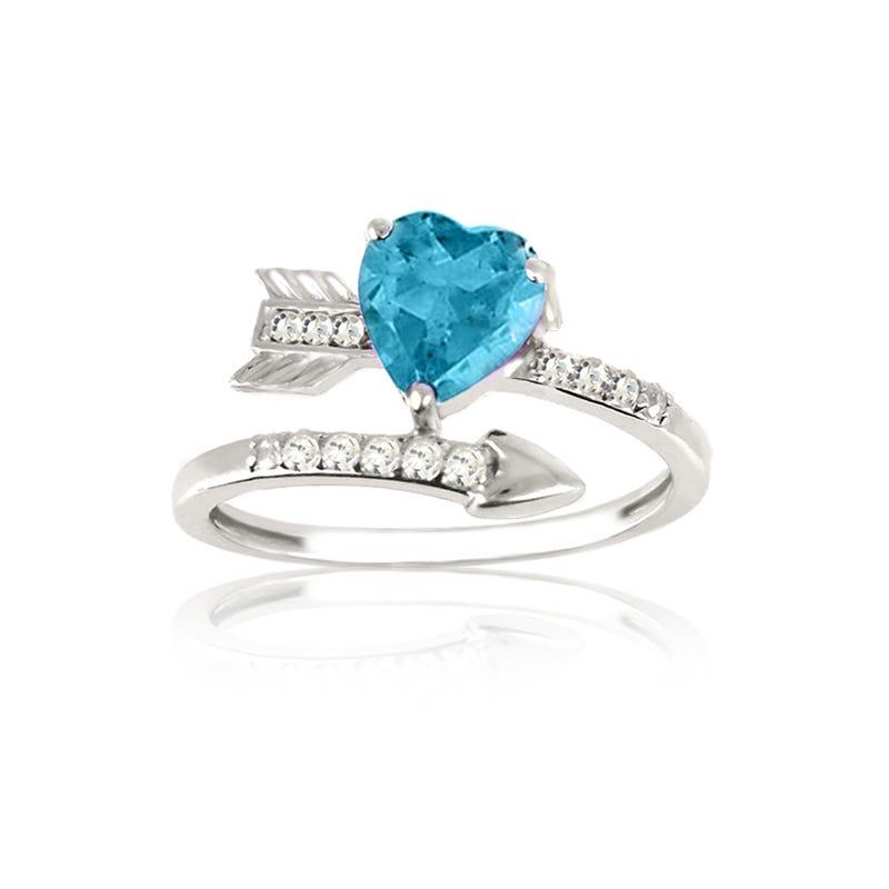 Blue Topaz Heart & Arrow Diamond Ring in Sterling Silver