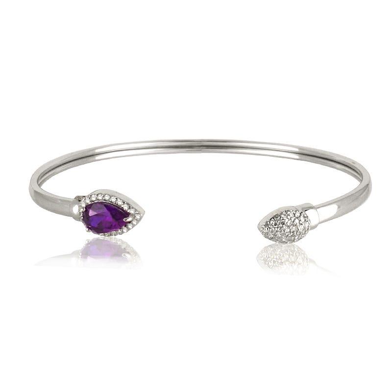 Amethyst & Diamond Bangle Bracelet in Sterling Silver