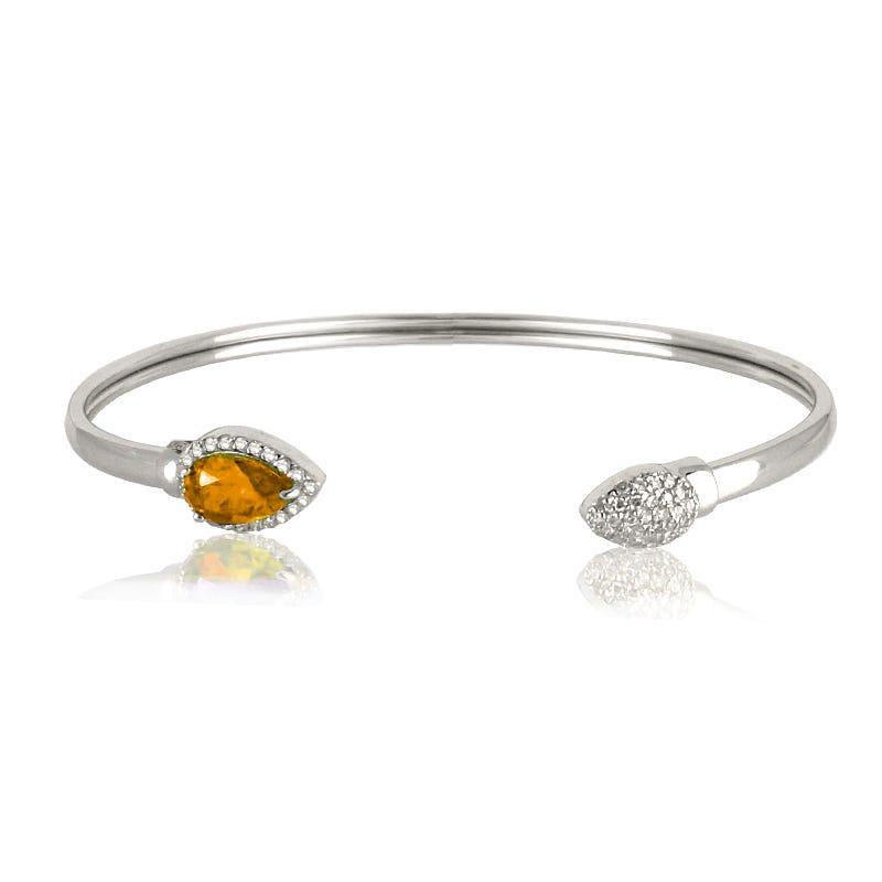 Citrine & Diamond Bangle Bracelet in Sterling Silver