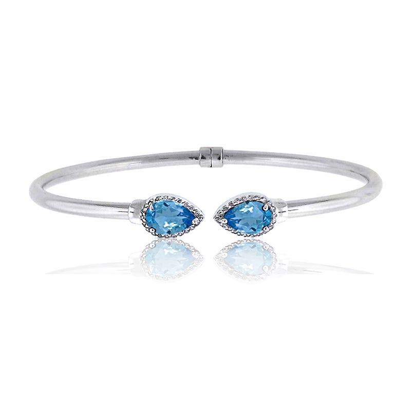 Blue Topaz & Diamond Bangle Bracelet in Sterling Silver