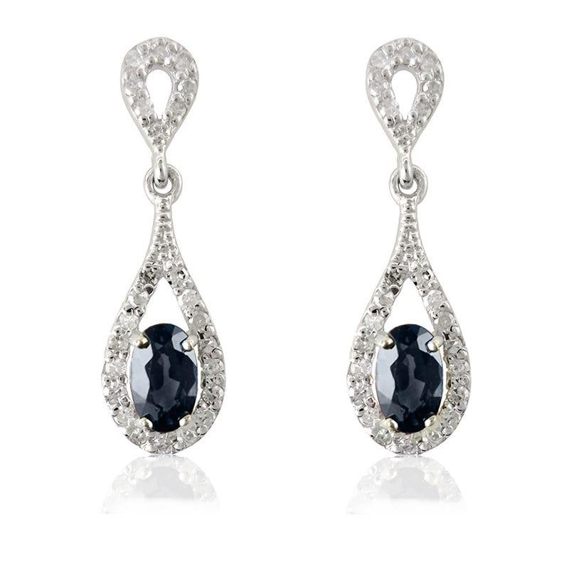 Sapphire Oval & Diamond Dangle Earrings in 10k White Gold