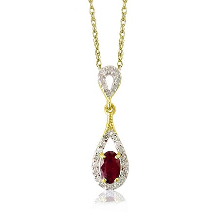 Ruby & Diamond Drop Pendant in 10k Yellow Gold
