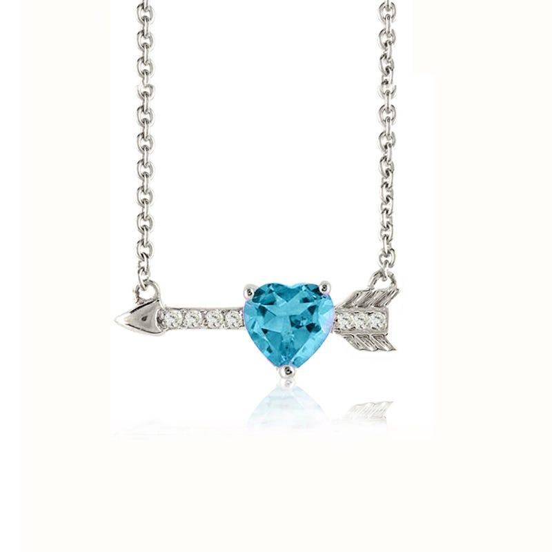 Blue Topaz Heart & Arrow Diamond Pendant in Sterling Silver