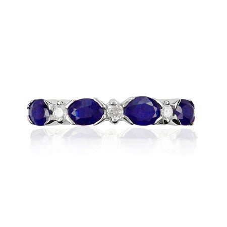 Sapphire Oval & Diamond Band in 10k White Gold