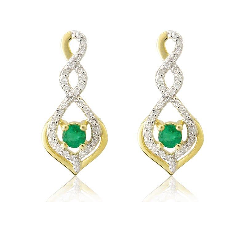 Emerald Diamond Twist Dangle Earrings in 10k Yellow Gold